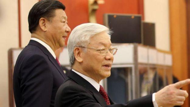 Tổng Bí thư Nguyễn Phú Trọng tiếp Chủ tịch Trung Quốc Tập Cận Bình tháng 11/2017 ở Hà Nội