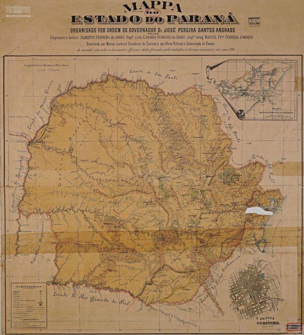 Mapa do Estado do Paraná na década de 1890