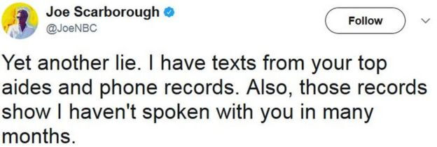 Yet another lie. I have texts from your top aides and phone records. Also, those records show I haven't spoken with you in many months.