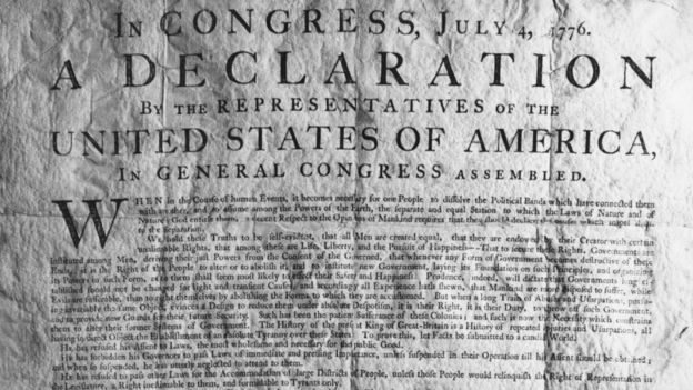 A copy of the American Declaration of Independence