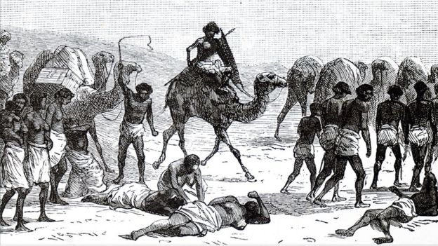 Engraving depicting Abyssinian slaves being taken from the Sudan across the desert to the Red Sea to be taken to Jeddah