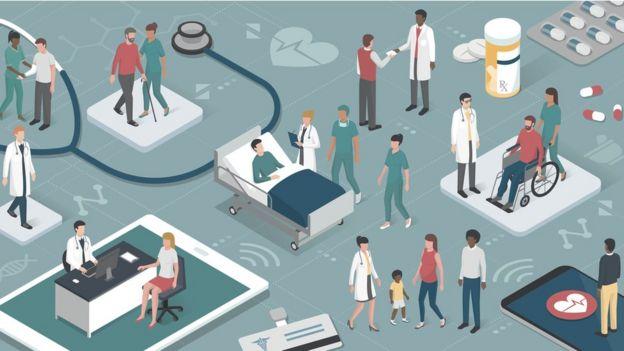 Ilustração mostra diversas cenas em um ambiente de cuidados de saúde, com profissionais e pacientes