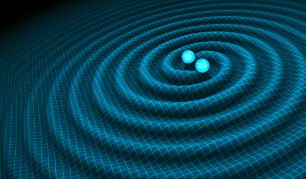 แบบจำลองคอมพิวเตอร์แสดงโครงสร้างของคลื่นความโน้มถ่วง ซึ่งแผ่ออกจากคู่ดาวนิวตรอนที่โคจรวนรอบกันและกัน