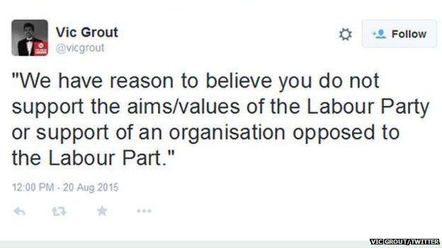 Vic Grout tweet
