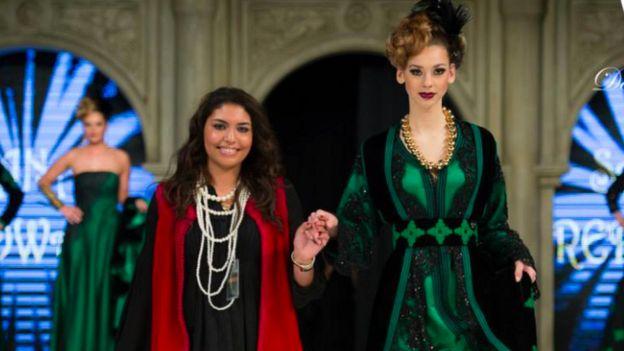 05fbb4abeb Sana Redwani (left) and a model wearing a Vallasco Gallery kaftan