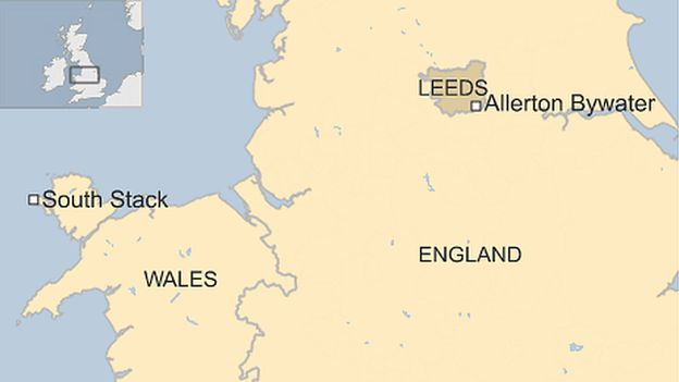 Map showing locations of South Stack and Allerton Bywater