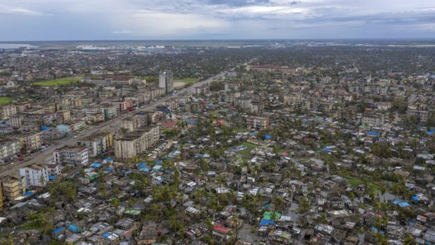 Image shows a general aerial view of a damaged neighbourhood in Sofala Province, Central Mozambique