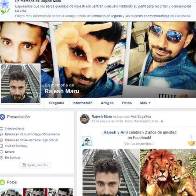 Facebook profile of Rajesh Maru
