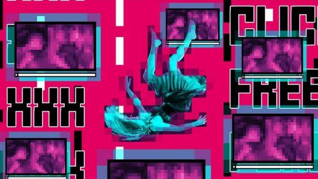 Collage de mujer cayendo entre contenido porno
