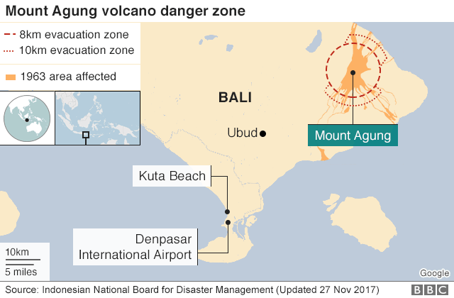 Bali Volcano Airport Reopens After Agung Eruption Bbc News