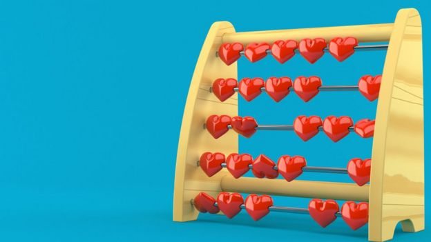 An abacus with red heart-shaped beads, over a bright blue background
