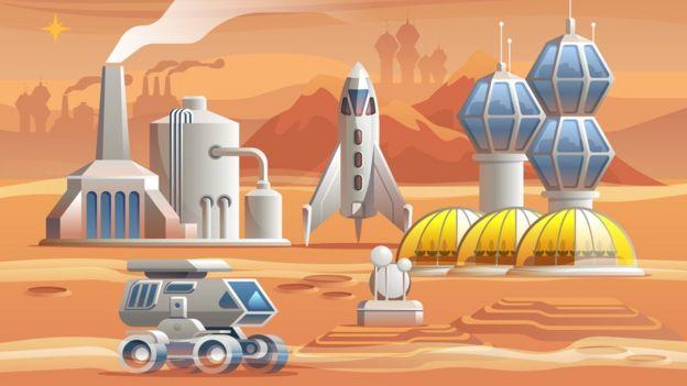 Ilustração retrata ambiente futurístico, com construções, estações de produção energética e foguetes