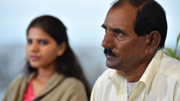 Ashiq Mesih (R) and Eisham Ashiq, the husband and daughter of Asia Bibi speak in London