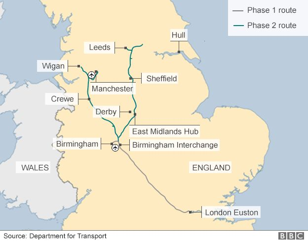 Map showing proposed route of HS2
