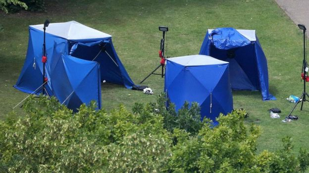 Police tents and equipment at Forbury Gardens in Reading