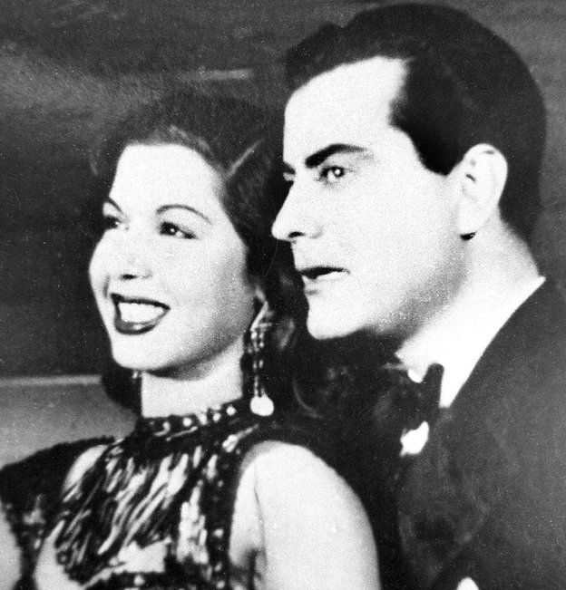 Picture dated mid 40s, shows Egyptian actor and singer Farid al-Atrash with Egyptian belly dancer Samia Gamal in Cairo.