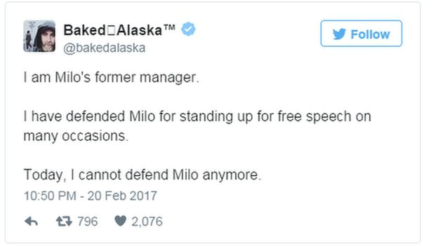 Tweet: I have defended Milo for standing up for free speech on many occasions. Today, I cannot defend Milo anymore.