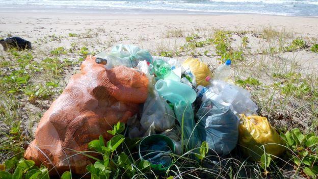 Sacos de lixo próximos ao mar