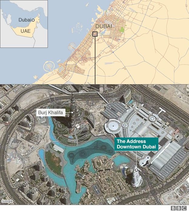 Fire engulfs dubai hotel ahead of new year celebrations bbc news map gumiabroncs Gallery