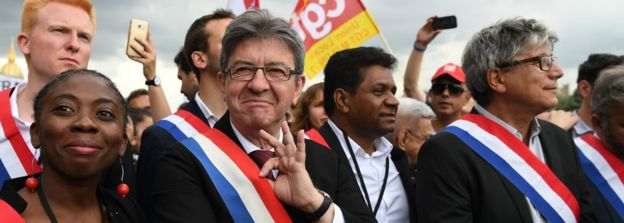 Jean-Luc Mélenchon (2nd L) during a protest in June 2017