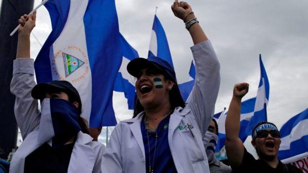 Protesta de médicos en Nicaragua