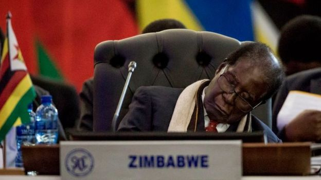 President Robert Mugabe of the Republic of Zimbabwe rests at the Opening Session of the 37th Southern African Development Community (SADC) Summit of Heads of State and Government at the OR Tambo Building in Pretoria on August 19, 2017