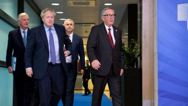 Michel Barnier, Boris Johnson, Stephen Barclay and Jean-Claude Juncker