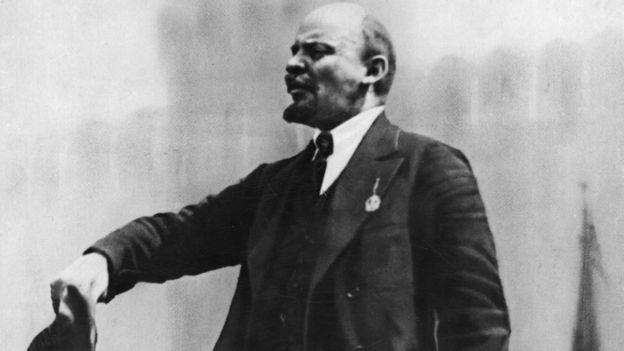A picture of Vladimir Lenin making a speech