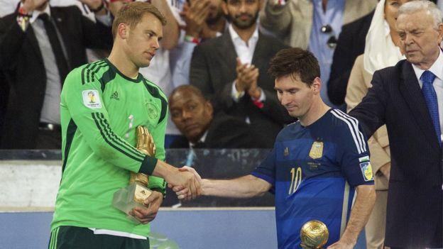 梅西(右)在巴西世界杯成為最佳球員,但未能帶領阿根廷奪冠。