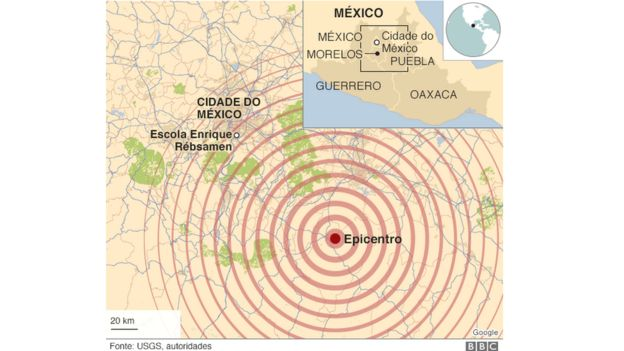 Mapa mostra epicentro do terremoto
