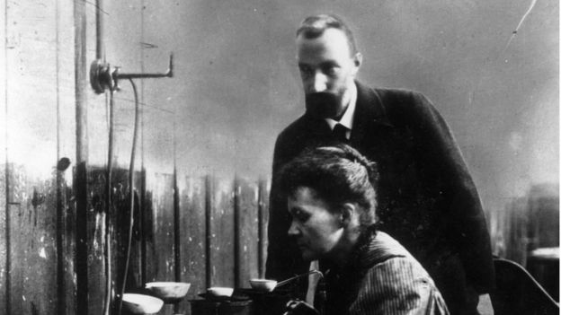 Marie Curie and her husband, Pierre Curie