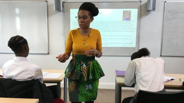 Image of Aisha Thomas teaching the first new Black History curriculum lesson.