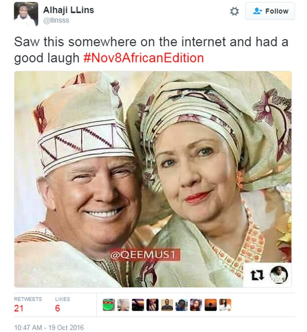 Trump and Hilary dressed in traditional African attire.