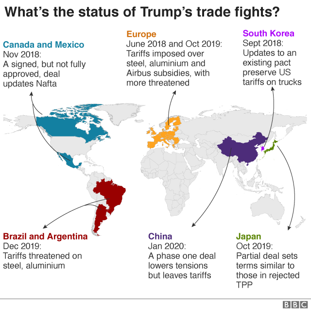 map of Trump trade wars