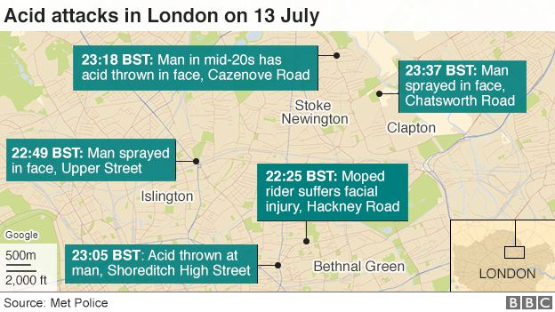 Map of acid attacks on 13 July