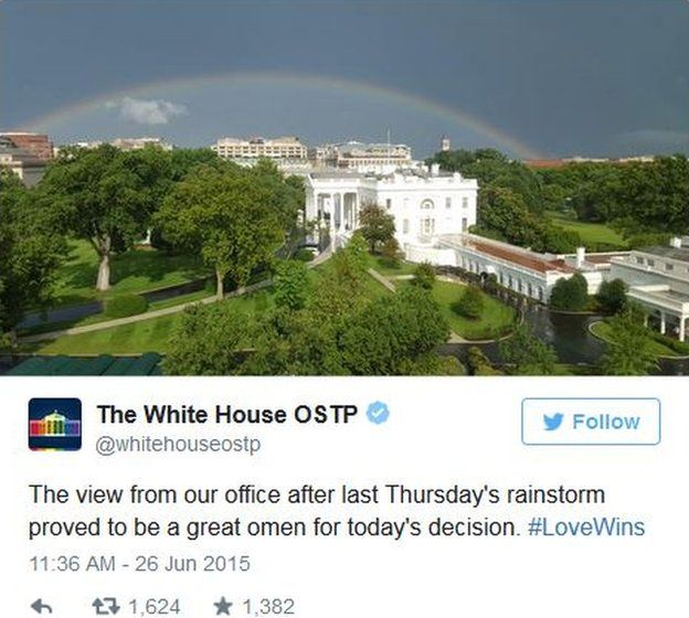The Office of Science and Technology Policy tweets a photo of a rainbow over the White House