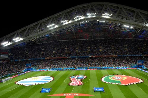 El escenario del partido en el estadio Fisht, de Sochi.
