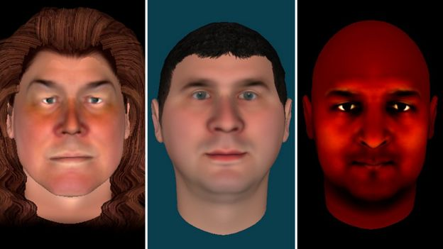 Three avatars created by people taking part in the therapy