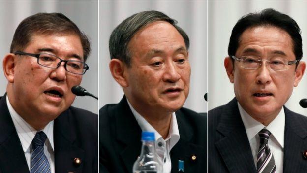 Fumio Kishida (kiri), Yoshihide Suga (tengah), Shigeru Ishiba