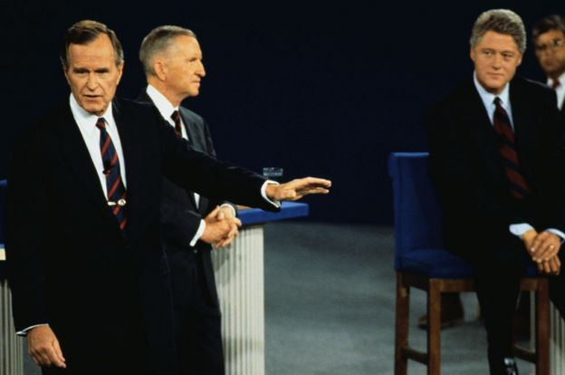 Bush speaks in a debate with Perot and Clinton