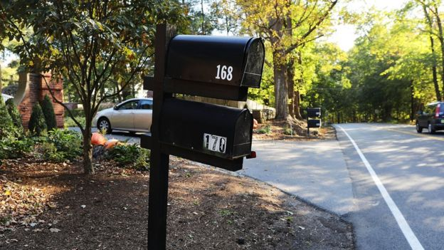 A mailbox stands in front of the Bedford residence of billionaire George Soros
