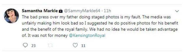 Samantha Markle's tweet