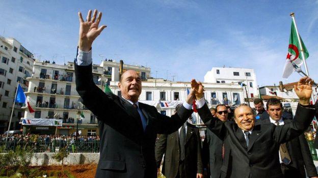El presidente de Francia Jacques Chirac durante una visita a Argelia en 2003