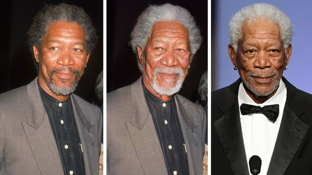 Composite image of Morgan Freeman before the app, after it and what he looks like now