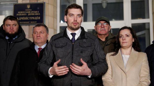 Prime Minister Oleksiy Honcharuk, Interior Minister Arsen Avakov and Health Minister Zoriana Skaletska