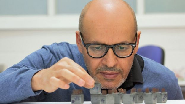 Mohamed Saafi with cubes of concrete made from potassium-geopolymetric (KGP) composites