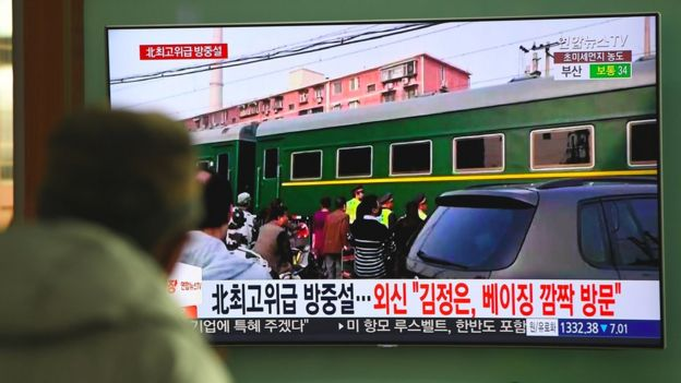 Kim Jong-un's train on the way to Beijing in March 2018
