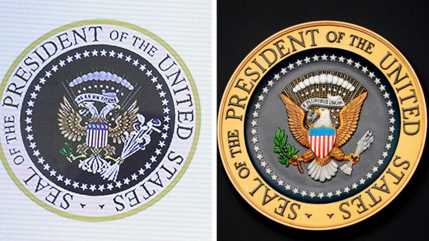 Doctored presidential seal and real presidential seal