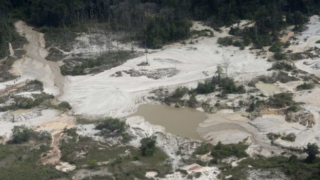 Imagen aèrea de una mina en el estado Bolívar