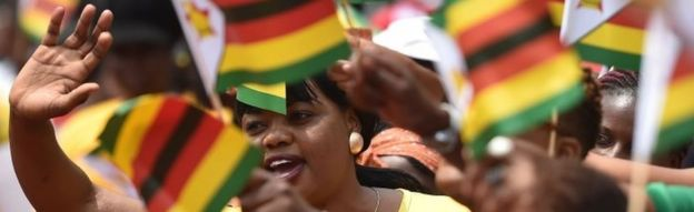 Zimbabweans greet the new president at Harare's stadium. Photo: 24 November 2017